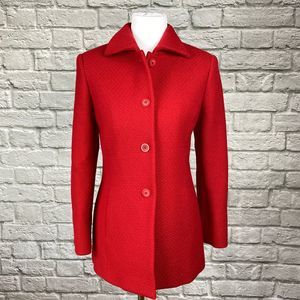 Talbots Red Lightweight Wool Pea Coat